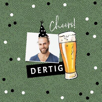 Verjaardagskaart happy beerday bier stoer man confetti 2