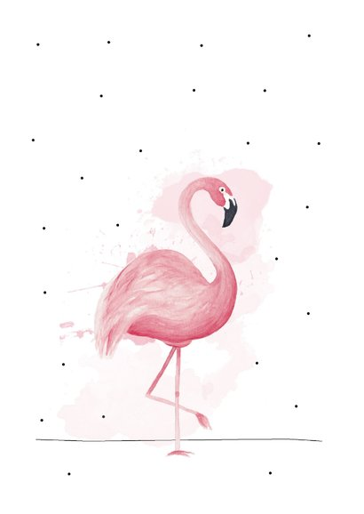 Verjaardagskaart happy bird-day met roze flamingo  2