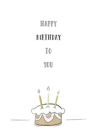 Verjaardagskaart happy birthday tekst met creatieve taart 2