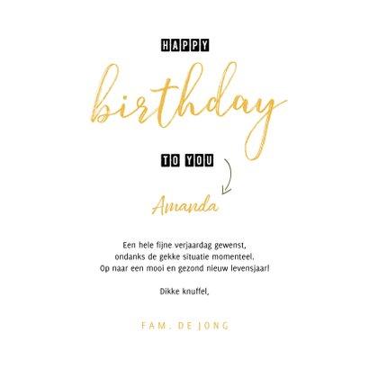 Verjaardagskaart happy birthday to you gele bloemenkrans 3