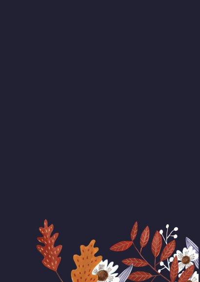 Verjaardagskaart herfst bloemen en vogel 2