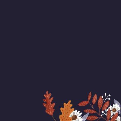 Verjaardagskaart herfst bloemen en vogeltje 2