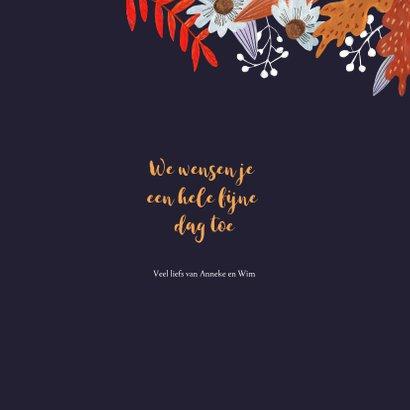 Verjaardagskaart herfst bloemen en vogeltje 3