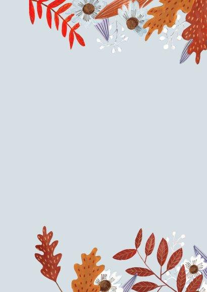 Verjaardagskaart herfstbladeren meisje 2