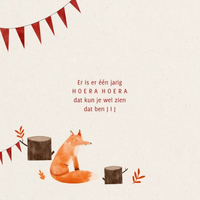 Verjaardagskaart hip met vosje en slingers illustratie 2