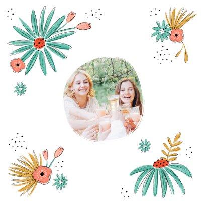 Verjaardagskaart hoera bloemen illustratie proficiat 2