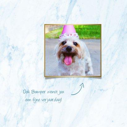 Verjaardagskaart 'hoera' folieballonnen blauw met goud 2