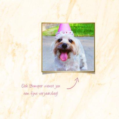 Verjaardagskaart 'hoera' folieballonnen roze met goud 2