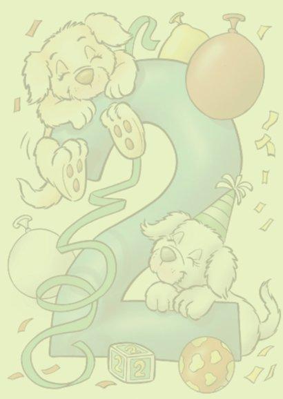 Verjaardagskaart hondjes cijfer 2 2