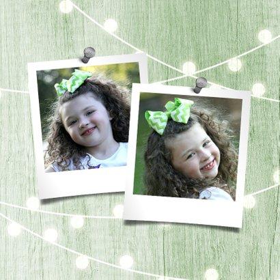 Verjaardagskaart houtlook groen lampjes met foto 2