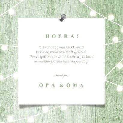 Verjaardagskaart houtlook groen lampjes met foto 3