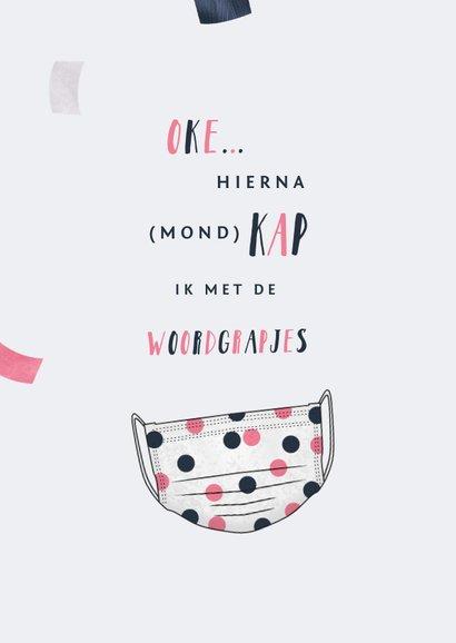 Verjaardagskaart humor vrouw corona mondkapje confetti 2