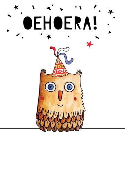 Verjaardagskaart illustratie uil met feesthoed 2