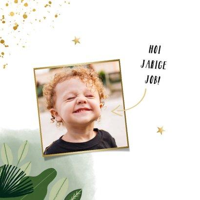 Verjaardagskaart jongen jungle gouden sterren en foto 2