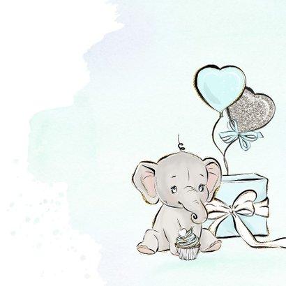 Verjaardagskaart jongen olifant en ballonnen 2