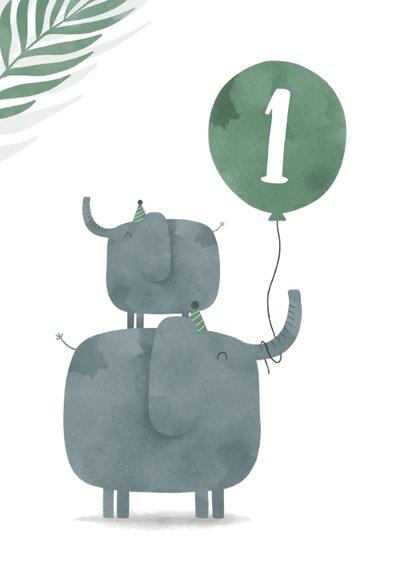 Verjaardagskaart jungle 2 olifantjes met ballon en leeftijd 2