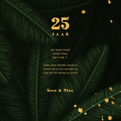 Verjaardagskaart jungle bladeren met foto en gouden '25' 3