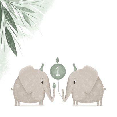 Verjaardagskaart jungle tweeling 1 jaar olifanten met vogels 2