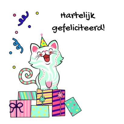 Verjaardagskaart kat, cadeaus en slingers 2