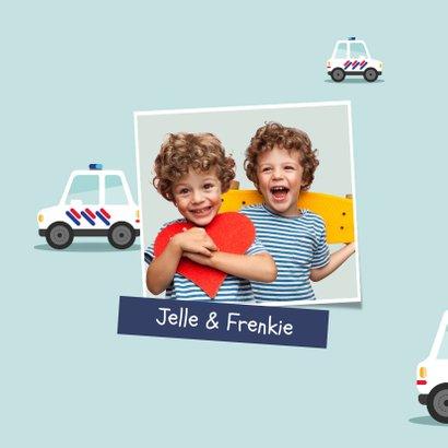 Verjaardagskaart kind jongen politie tweeling hoera 2