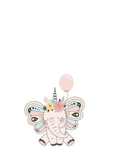 Verjaardagskaart kind met schattige olifant 2