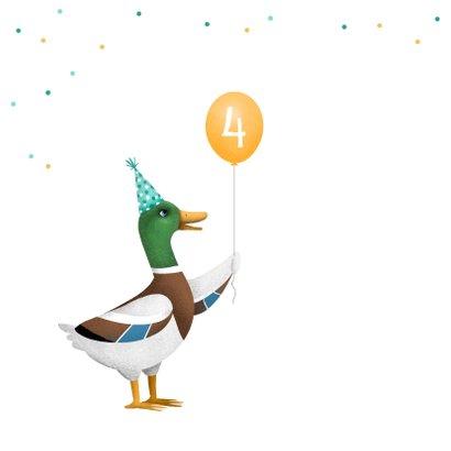 Verjaardagskaart kind peuter kleuter eendje ballon confetti 2
