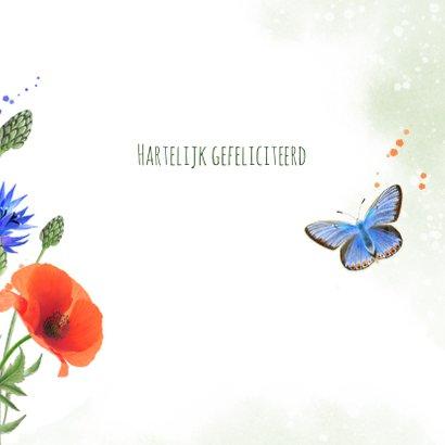 Verjaardagskaart klaprozen korenbloemen vlinder 3