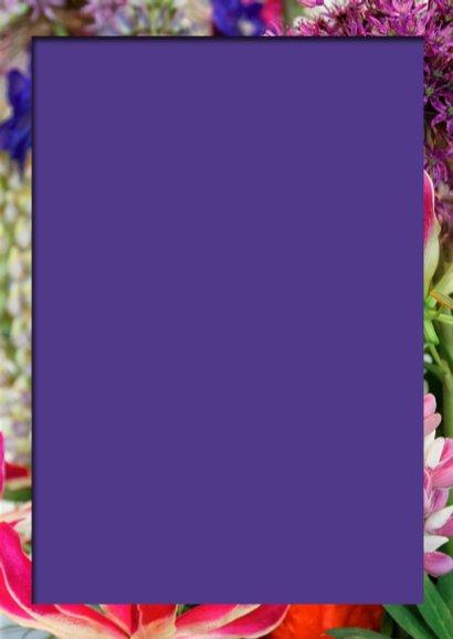 Verjaardagskaart klassiek bloemen roze paars 3