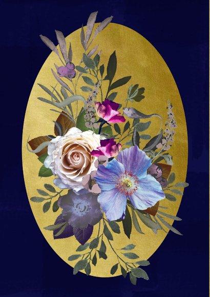 Verjaardagskaart klassiek boeket blauwe bloemen met goud 2