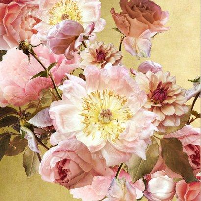 Verjaardagskaart klassiek boeket roze met goud 2