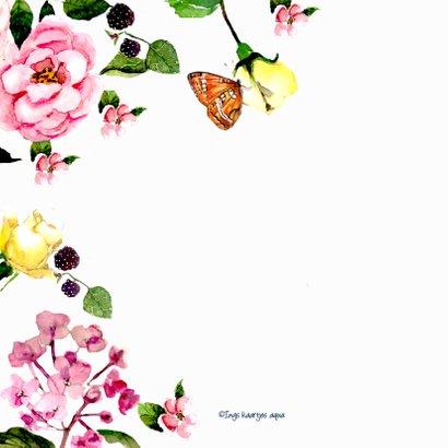 Verjaardagskaart Kleurrijk gebloemd met vlinders 2