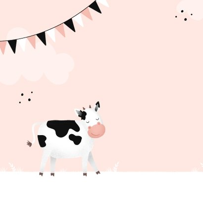 Verjaardagskaart koe 1 jaar meisje lief roze 2