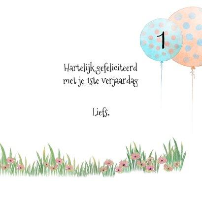 Verjaardagskaart konijntje met ballon 3