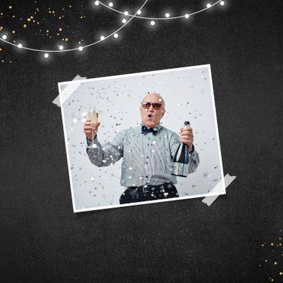 Verjaardagskaart krijt proficiat slingers goud spetters 2