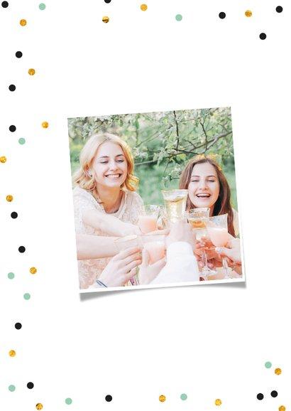 Verjaardagskaart kus zus confetti goud lettering 2