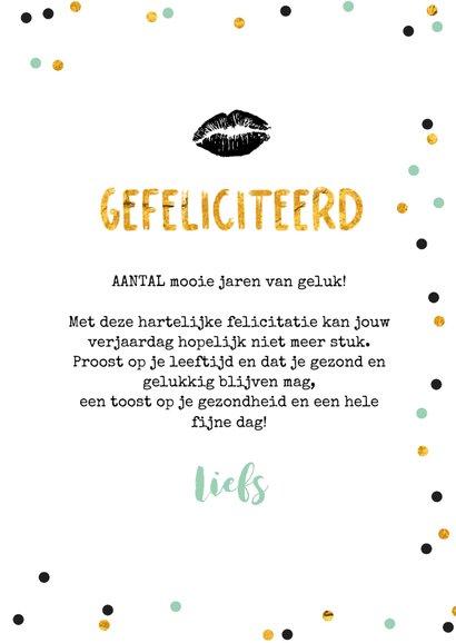 Verjaardagskaart kus zus confetti goud lettering 3