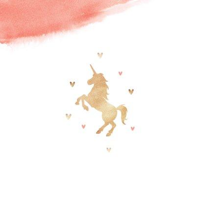 Verjaardagskaart lief roze met hartjes en eenhoorn 2