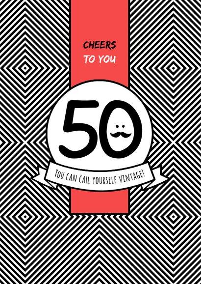 Verjaardagskaart man 50 jaar rood stoer foto 2
