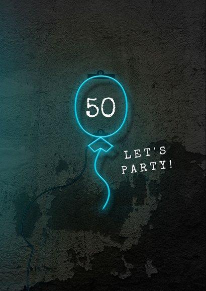 Verjaardagskaart man 50 jaar stoer neon blauw ballon 2