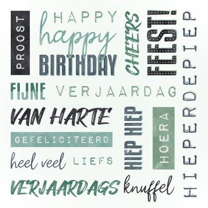Verjaardagskaart man handletter woorden 2