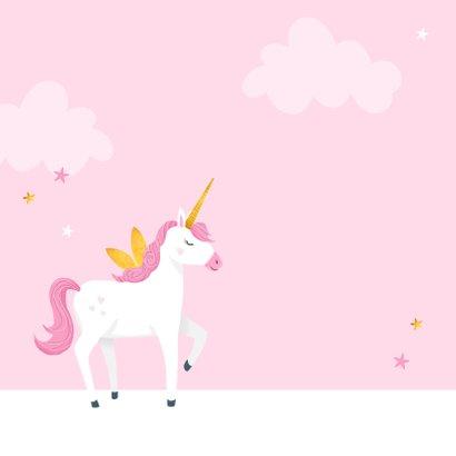 Verjaardagskaart meisje baby eenhoorn sterren roze 2