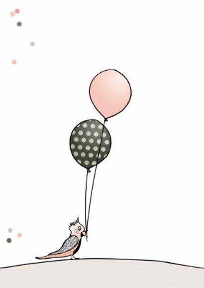 Verjaardagskaart meisje ballon a 2