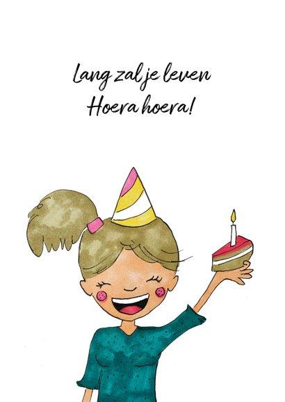 Verjaardagskaart meisje confetti hoera 2