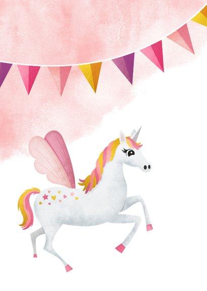 Verjaardagskaart meisje - met eenhoorn slingers en sterren 2