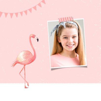 Verjaardagskaart meisje roze foto flamingo slingers 2