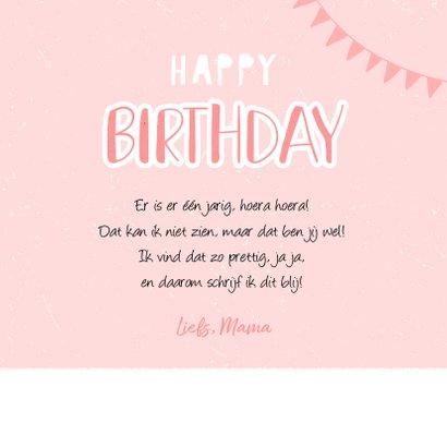 Verjaardagskaart meisje roze foto flamingo slingers 3