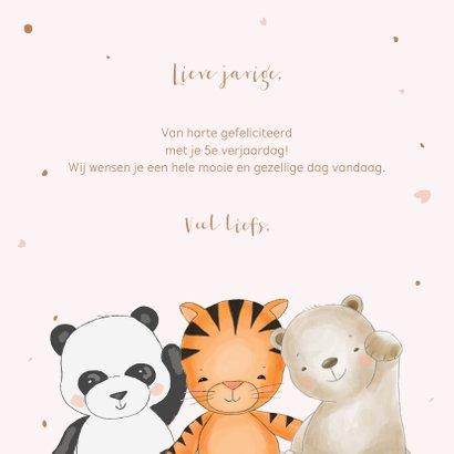 Verjaardagskaart meisje safari dieren in roze 3