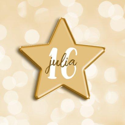 Verjaardagskaart met aanpasbare leeftijd in folieballon ster 2