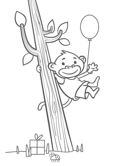 Verjaardagskaart met aapje - 5 jaar 2