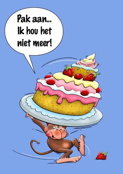 Verjaardagskaart met aapje en hele grote taart 3